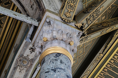 Marble and wood details.