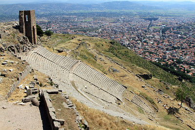 Pergamum - View over the Roman theatre (3rd century BC) to the modern city of Bergama.