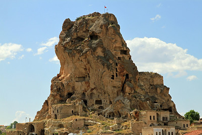 Uchisar Castle, an old fortress carved into a volcanic outcrop, is riddled with tunnels and rooms.