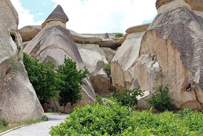 Cone-shaped fairy chimneys, Zelve, Cappadocia.