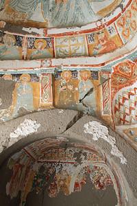 Frescoes inside rock-carved church, Ihlara Valley, Cappdocia.