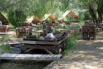 Restaurant in a river (I had lunch here), Ihlara Valley, Cappdocia.