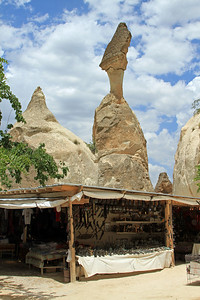 Local (tourist) stall, with fairy chimneys in background, Zelve, Cappadocia.