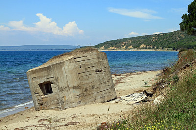 A World War 2 concrete bunker on the beach at Kabatepe.