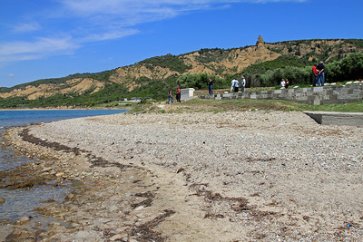 The beach in front of Ari Burnu cemetery at ANZAC Cove.  In the background are the cliffs and the landmark known as 'The Sphinx'