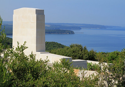 The view from the Plugge's Plateau cemetery above ANZAC Cove looking south past Kabatepe.  Plugge's Plateau is named after Colonel A. Plugge of the Auckland Battalion.