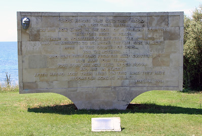 Turkish memorial at ANZAC Cove. On it are words sent in 1934 by Mustafa Kemal Atatürk, President of Turkey, to an official Australian, New Zealand and British party visiting Anzac Cove.