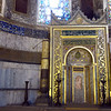 The church was built on north-south-east-west axis, but the central altar of the mosque is offset to point to Mecca