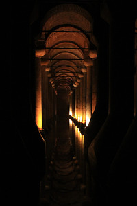 Interior of the Basilica Cistern, dating to the Byzantine era (532 AD).