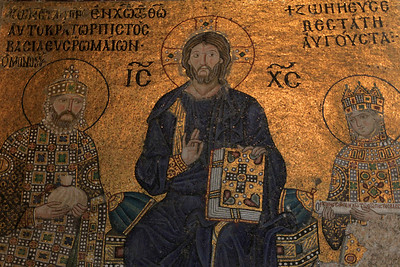 Mosaic inside Haghia Sophia depicting Christ flanked by the Byzantine Emperor Constantine IX and his wife, the Empress Zoe.