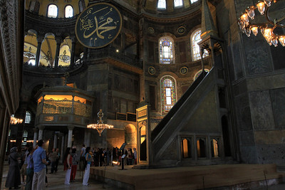 Interior of Haghia Sophia, showing Muslim Minbar.