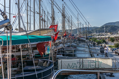A line of gulet style yachts.