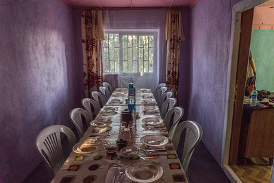 The table set for our breakfast in the farm house.
