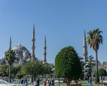 Exterior of the Blue Mosque showing some of the domes and minarets.