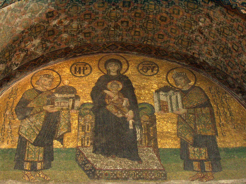 Hagia Sophia mosaic:  Virgin Mary between Emperors Constantine (right, with a model of Constantinople (present-day Istanbul) and Justinian (left; with a model of Hagia Sophia cathedral -- 10th century)