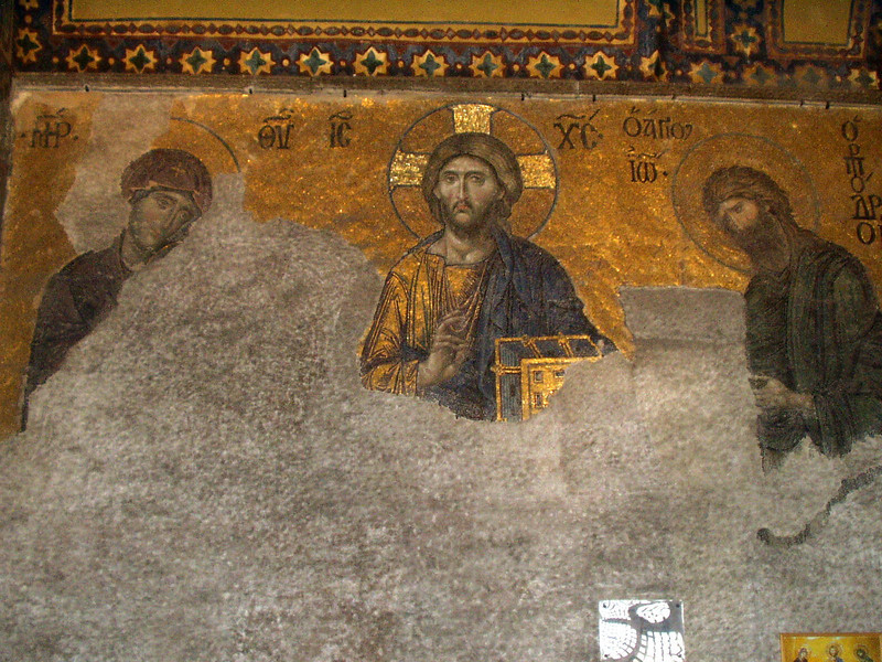 Hagia Sophia mosaic:  Judgement Day -- Christ between Virgin Mary and John the Baptist (12th century)