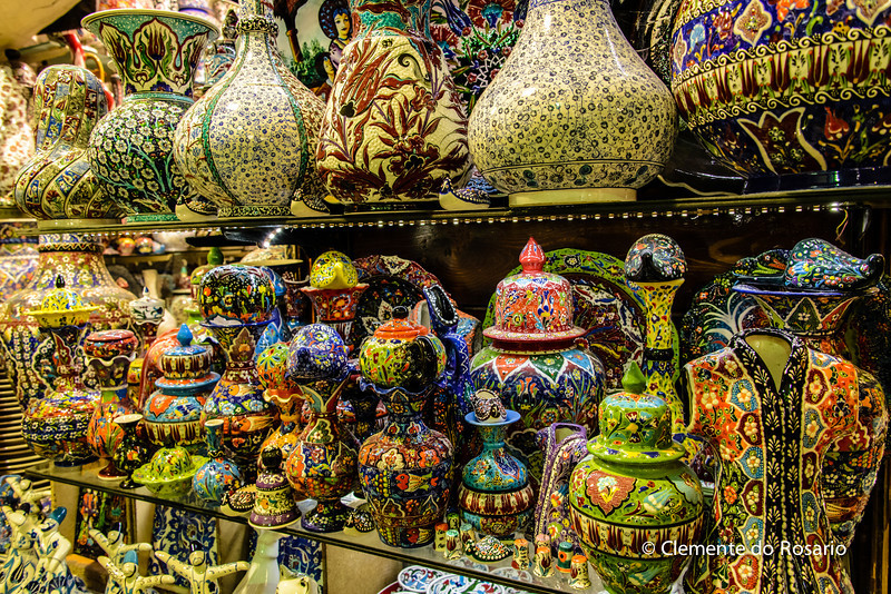 File Ref: 2013-06-04-Istanbul  308<br /> Turkish Pottery with intricate designs, Istanbul