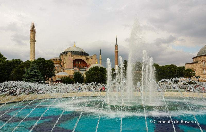 File Ref: 2013-06-04-Istanbul  215<br /> Fountains in the grounds of Sophia Hagia Museum ,Istanbul, Turkey