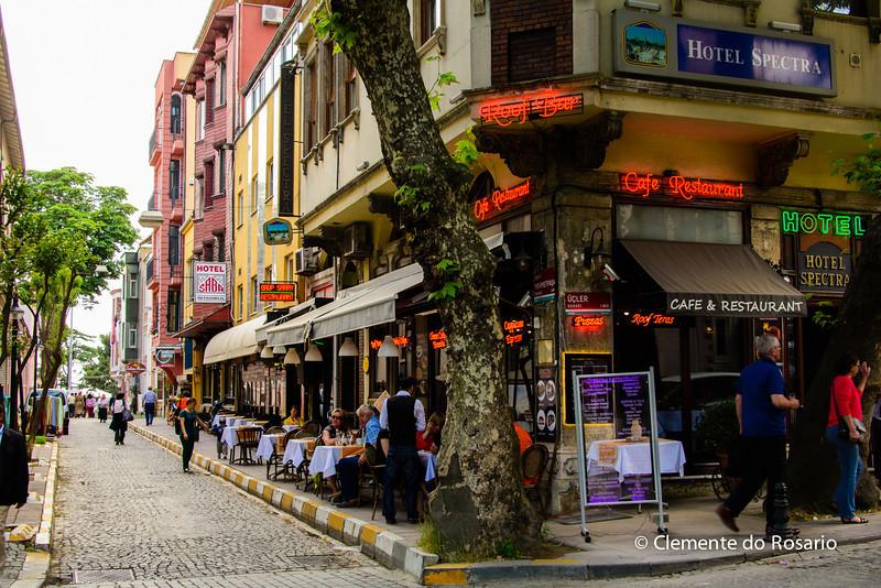 File Ref: 2013-06-04-Istanbul  197<br /> Sidewalk cafe near the Hippodrome district , Istanbul