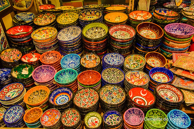 File Ref: 2013-06-04-Istanbul  303 Turkish colourful dishes on sale in Istanbul,Turkey