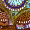 File Ref: 2013-06-04-Istanbul  060<br /> Interior view of the of ceiling of the Blue Mosque, Istanbul, Turkey