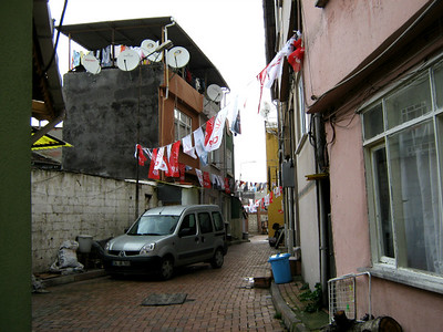 Back-street with bunting