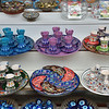 Colorful ceramic sets offered for sale in the shops of the bazaar.<br /> April 6, 2014