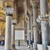 Marble columns add support to the massive dome of Hagia Sofia <br /> in the upper gallery.