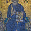 Mosaic of Christ flanked by an emperor and empress.<br /> Aya Sofya.