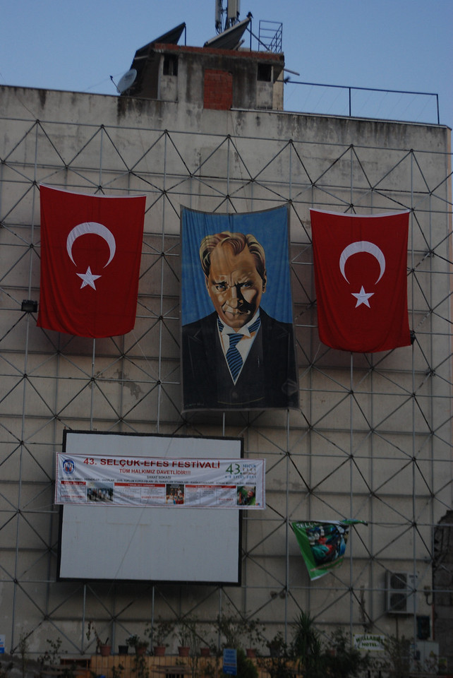 Ataturk banner - Selcuk, Turkey.  My wife and I were in Turkey during a national holiday.  Although depictions of Ataturk are all over Turkey, there were more of them (and more flags) up at this time due to the festivities.
