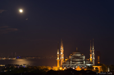 Blue Mosque with full moon taken on our last night