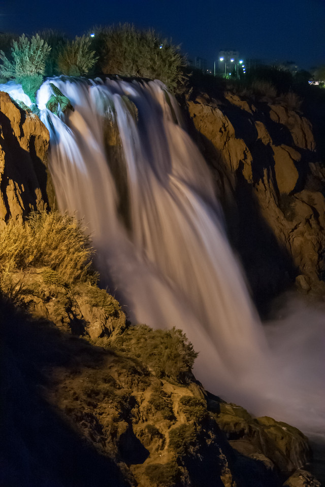 Lower Duden falls at night
