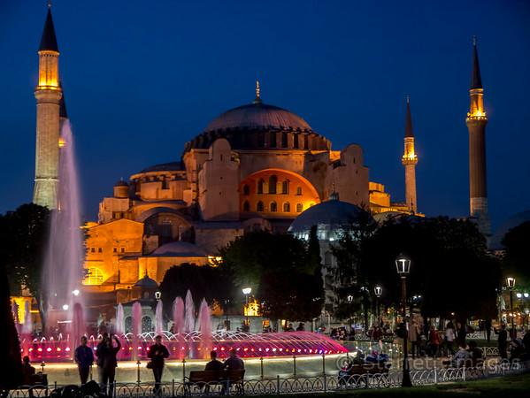 Hagia Sophia, sixth century, lit at night