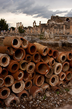 These pipes were used for underground plumbing of this ancient city.