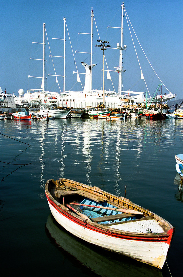 A Windstar sail ship as viewed from the bay in Kusadasi, Turkey
