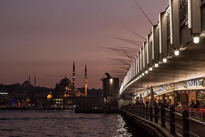 Fischermen in Istanbul at dusk