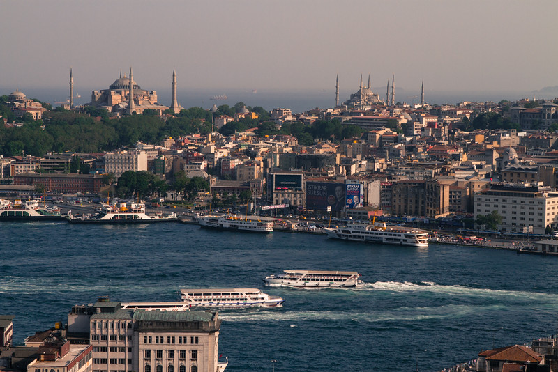 Hagia Sophia & The Blue Mosque from Galata Tower