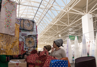 Ashgabat: Market - All married women have same headdress style.