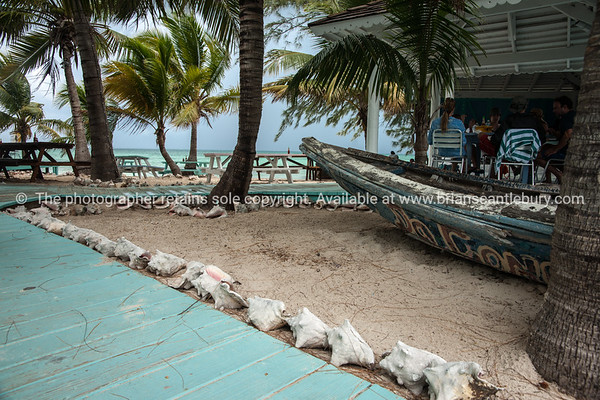 Conch Shack bar and restaurant entrance, Providenciales, Turks & Caicos.<br /> Prints & downloads.