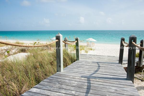 Walkway to beach, Providenciales, Turks & Caicos Islands.<br /> Prints & downloads.