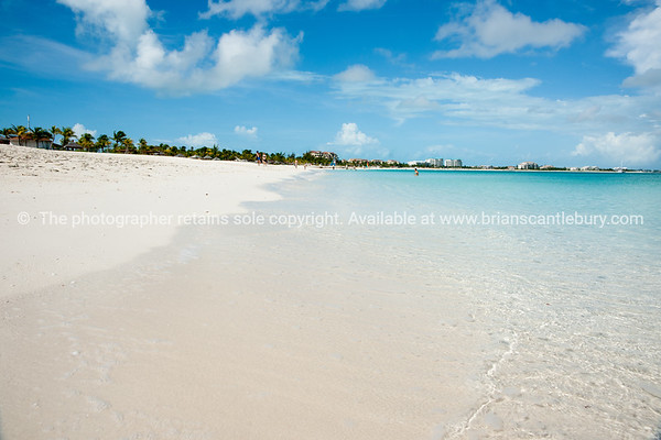 Beach, Caribbean white sand, turquoise sea, and blue sky. Providenciales, Turks & Caicos.<br /> Prints & downloads.