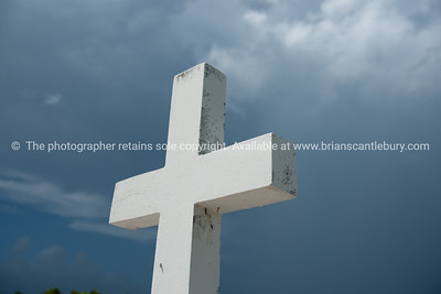 White cross on Grave on beach at providenciales, Turks & Caicos. Prints & downloads.