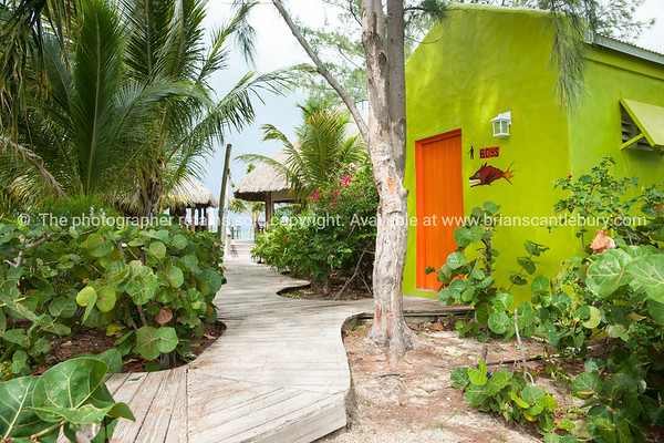 Blue Hills,  Providenciales, walkway to beach restaurant, with lime green restroom building.<br /> Prints & downloads.