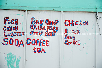 Rough food sign, Blue Hill, Providenciales, Turks & Caicos. Prints & downloads.