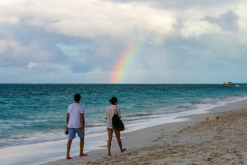Partial Rainbow on Grace Bay, Turks and Caicos - February 2014
