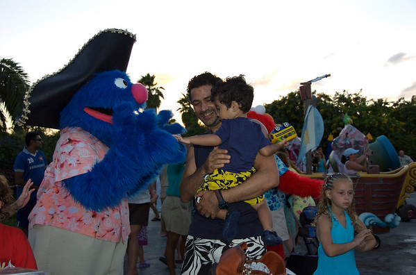 Pirate Grover high fives Jaden