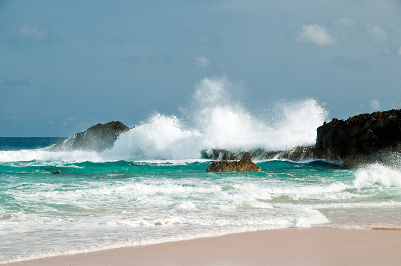Surf over Dragon Cay at Mudjin Harbor, Middle Caicos