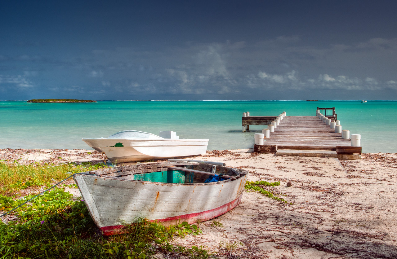 Boats and Dock at Bambarra Beach, Middle Caicos