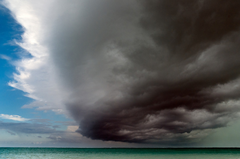 The leading edge of the storm over Blue Hills Beach