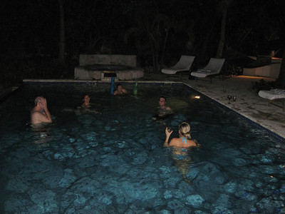 First night in Turks and Caicos ... open the boxes of wine and jump into the pool!